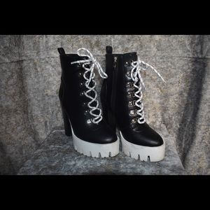 Black & white chunky boots